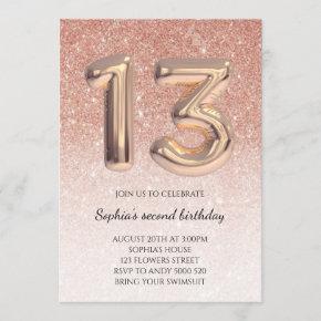 Teen 13th Birthday Rose Gold Glitter Foil Balloon Invitation