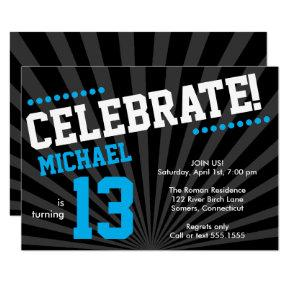 Teen Boy Birthday Invitation-Any Year, Blue Invitation