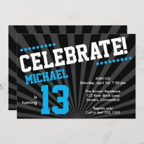 Teen Boy Birthday Invitation-Any Year, Blue Invitation