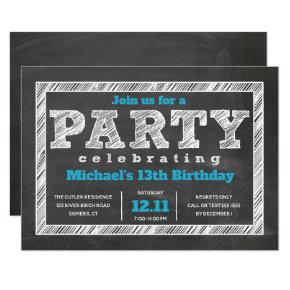 Teen Boy Birthday Invitation, Chalkboard, Blue Invitation