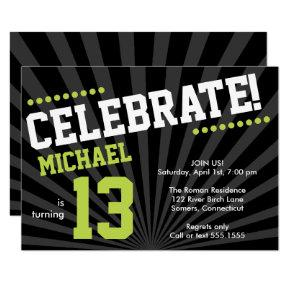 Teen Boy Birthday Invitation, Lime Green and Black Invitation