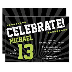 Teen Boy Birthday Invitation, Lime Green and Black Invitation