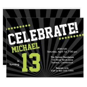 Teen Boy Birthday Invitations, Lime Green and Black Invitations