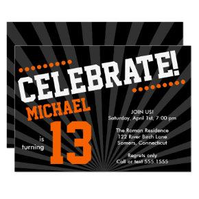 Teen Boy Birthday Invitation, Orange and Black Invitation