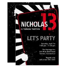Teen Boy Party Invitation   Black, White and Red