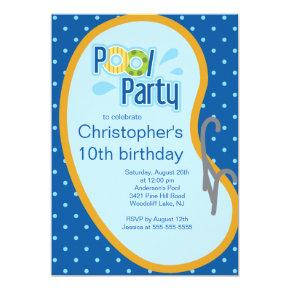 Teen Swimming Pool Party Invitations Blue