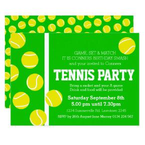 For a tennis tournament birthday invitations candied clouds tennis birthday party invite green yellow white filmwisefo