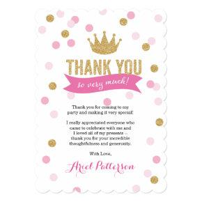 Thank You | Princess Crown Glitter Scalloped Invitation