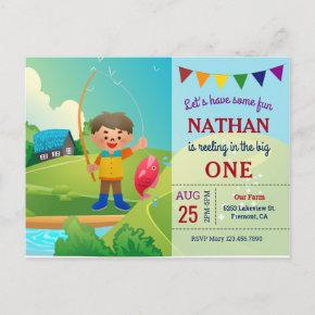 The Big One Boys Fishing 1st First Birthday Party Invitation Post