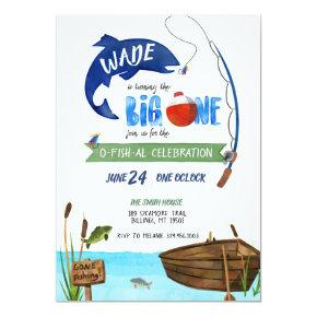 The Big One Boys Fishing Theme Birthday Invitation