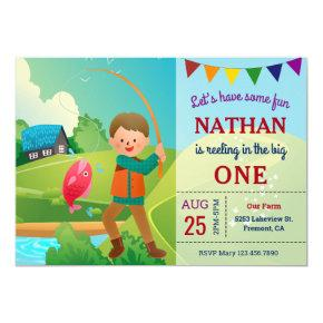 The Big One Fishing Theme Boys 1st Birthday Party Invitation