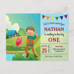 The Big One Fishing Theme Boys 1st Birthday Party Invitation Post