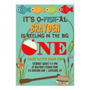 The Big One Fishing Theme Boys First Birthday Invitation