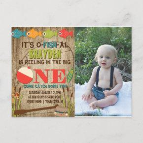 The Big One Fishing Theme Boys First Birthday Invitation Post