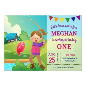 The Big One Fishing Theme Girls 1st Birthday Party Invitation