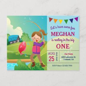 The Big One Fishing Theme Girls 1st Birthday Party Invitation Post