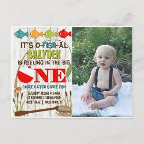 The Big One Fishing Theme Gray Boys First Birthday Invitation Post