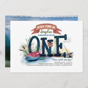 The Big One Fishing Themed Boys First Birthday Invitation