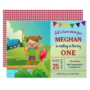 The Big One Girls Fishing 1st First Birthday Party Invitation