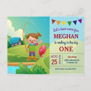 The Big One Girls Fishing 1st First Birthday Party Invitation Post