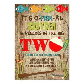The Big Two Fishing Theme Boys First Birthday Invitation