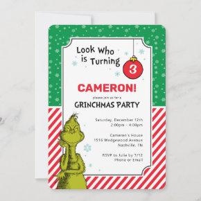 The Grinch Red and Green Snowflake 3rd Birthday