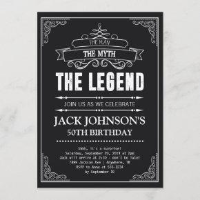 The Man The Myth The Legend Birthday Invitation