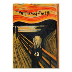 The Scream - Funny 40th Birthday Invitations