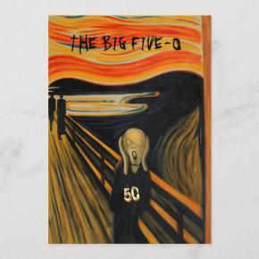 The Scream - Funny 50th Birthday Invitation