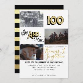 Then & Now Photo Collage | 100th Birthday Invitation