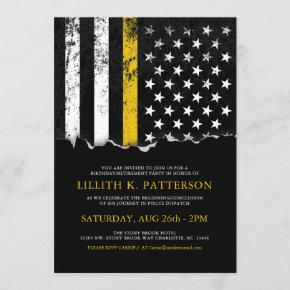 Thin Gold Line Flag Police Dispatch Party Event Invitation