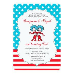 Thing 1 Thing 2 | Twins Birthday Invitations