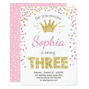 Third birthday invitation Princess Gold Pink Three