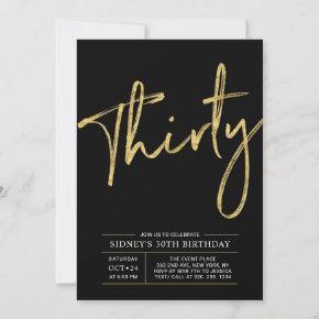 Thirty | Gold & Black Modern 30th Birthday Party Invitation