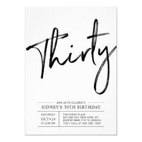 Thirty | Modern 30th Birthday Party Invitation
