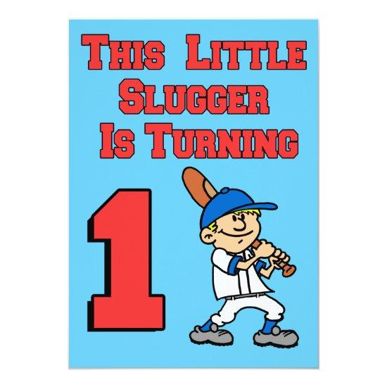 this little slugger is turning 1 baseball theme invitations