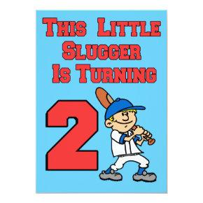This Little Slugger Is Turning 2 Baseball Theme Invitations