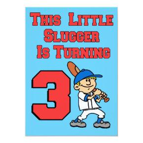 This Little Slugger Is Turning 3 Baseball Theme Invitations