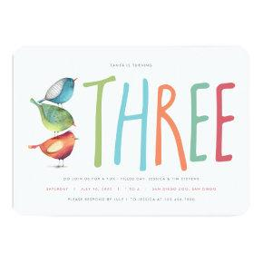 Three Birdie Third Birthday Party Invitation