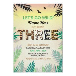 THREE Jungle 3rd Birthday Party Safari ZOO Invite