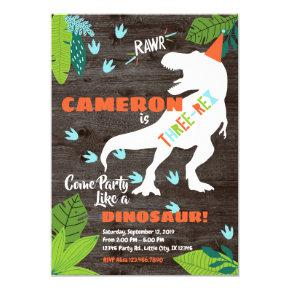 Three-rex Dinosaur 3rd Birthday invitation