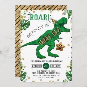 Three-Rex Dinosaur 3rd Birthday Invitation