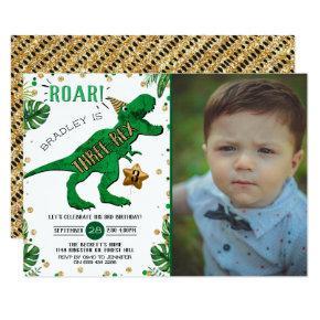 Three-Rex Dinosaur 3rd Birthday Photo Invitation
