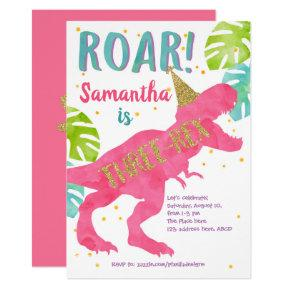 Three-rex, Dinosaur, Girl, Third Birthday Invitation