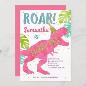 Three-rex, Dinosaur, Girl, Third Birthday Invitation