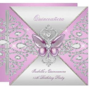 Tiara Pink Butterfly Quinceanera 15th Party Invitation