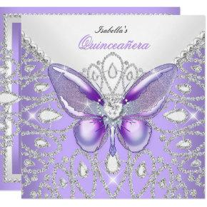 Tiara Quinceanera 15th Diamonds Purple Butterfly Invitations