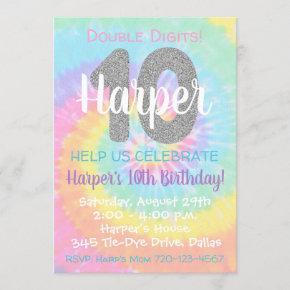 Tie Dye Birthday Invitation 10th Birthday