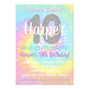 Tie Dye Birthday Invitation 10th Birthday