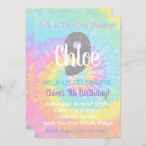 Tie Dye Birthday Invitation 9th Birthday
